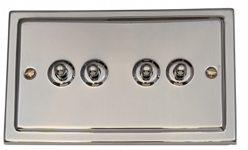 G&H TC284 Trimline Plate Polished Chrome 4 Gang 1 or 2 Way Toggle Light Switch